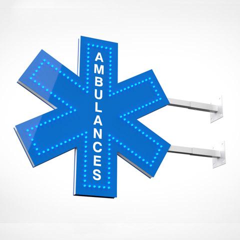 croix ambudiode enseigne pour ambulance