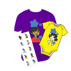 Image of When My Tummy Hurts products including a purple character tee, a yellow character onsie, and a sticker set.