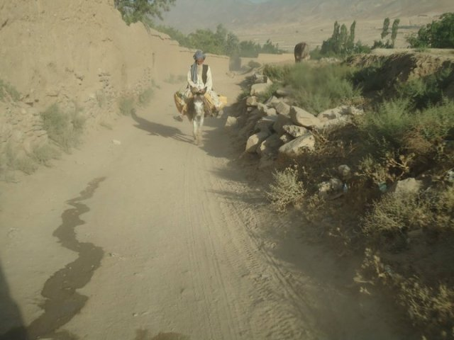 Man riding his donkey in Arghandeh