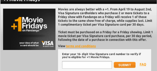 Visa Signature Fandango free ticket