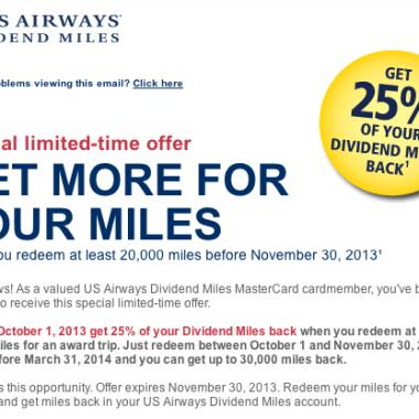 US Airways 25% Award Discount