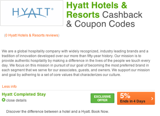 5% Cashback at Hyatt Hotels