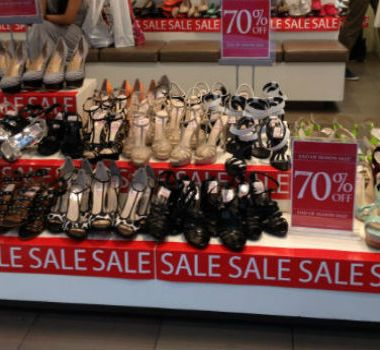 Shoes on sale on King Street in Sydney