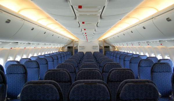 Airplane cabin economy seats