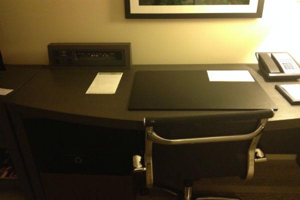 Desk with a flimsy power strip