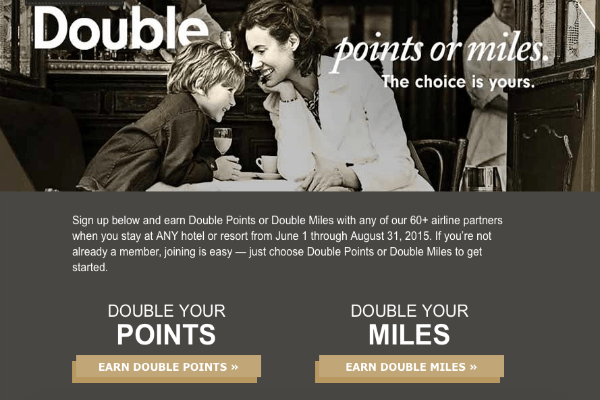 Hilton Double Points or Miles summer 2015 promotion