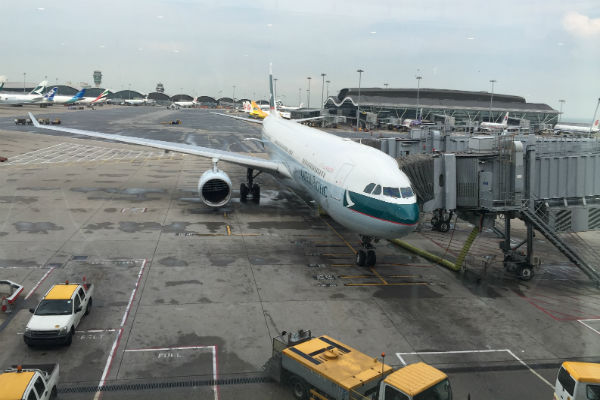 Cathay Pacific Airplane at Hong Kong Airport
