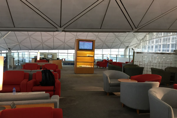 Plenty of seating at the Dragonair Business Class Lounge, Hong Kong Airport
