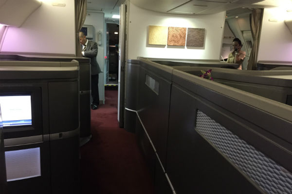 Cathay Pacific First Class Cabin onboard flight 872 Hong Kong to San Francisco