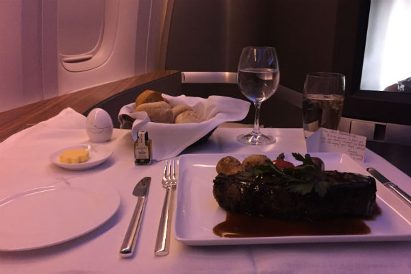 Cathay Pacific First Class Steak