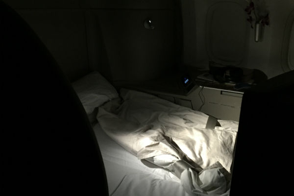 Cathay Pacific First Class seat turned down