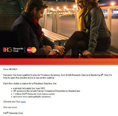 Look out for this email from IHG Priceless Surprises