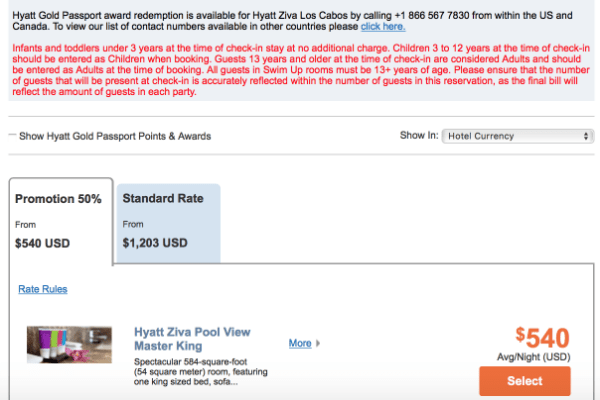 50% off rates Hyatt Ziva Los Cabos
