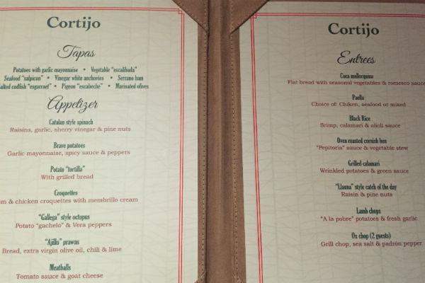 Menu at El Cortijo Spanish Restaurant Hyatt Ziva Los Cabos