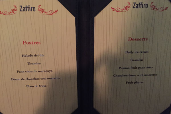 Dessert Menu at Zaffiro