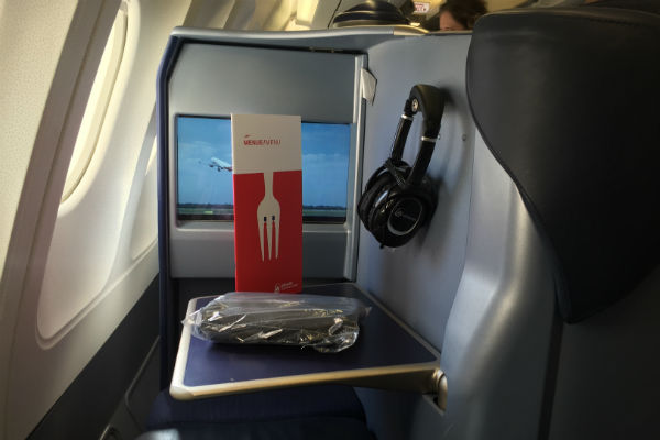 AirBerlin Business Class Tray Table with a Menu and Amenity Kit SFO to DUS
