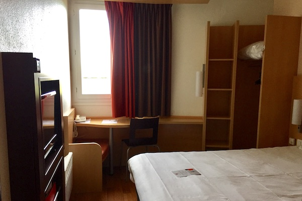 Small standard hotel room at the Ibis Calais Hotel in France