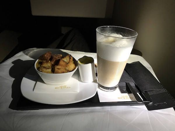 Brioche Bread and Butter Pudding and Latte, Etihad Airways Business Class SFO - AUH