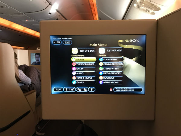 Etihad Airways Business Class In-flight Entertainment on the flight from SFO to AUH