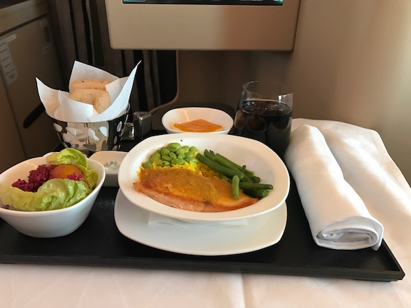 Salmon dish served in business class onboard Etihad flight 311 from Abu Dhabi to Jeddah