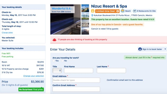 Booking.com rate for a Master Suite at Nizuc Cancun