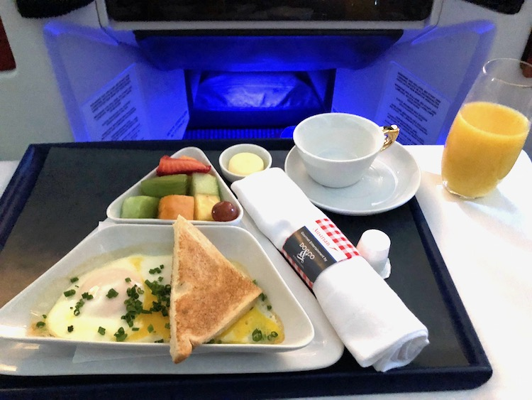 Austrian Airlines Business Class Breakfast Eggs