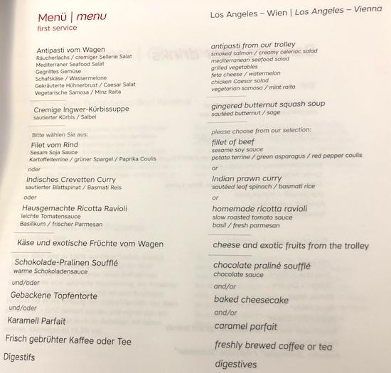 Austrian Business Class Menu Los Angeles to Vienna