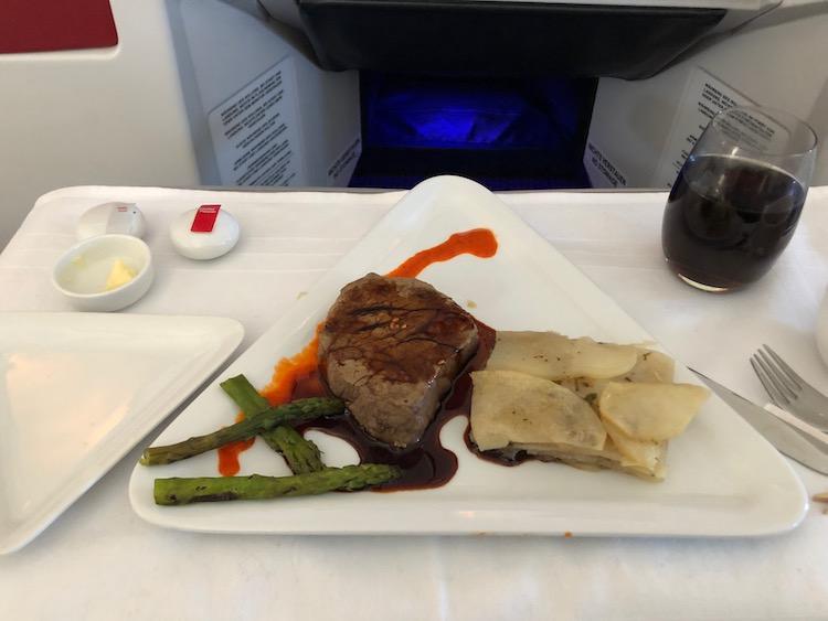 Austrian Business Class dinner filet of beef dinner LAX - VIE