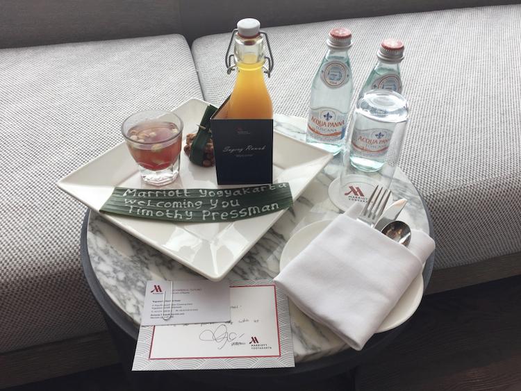 Marriott Yogyakarta elite welcome amenity water and drinks