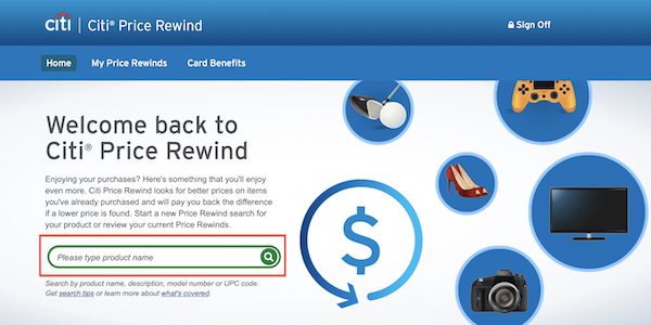 Citi Price Rewind product search