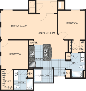 2 Bed / 2 Bath / 1,235 sq ft / Rent: $1,675