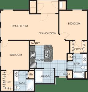 2 Bed / 2 Bath / 1,235 sq ft / Rent: $1,675