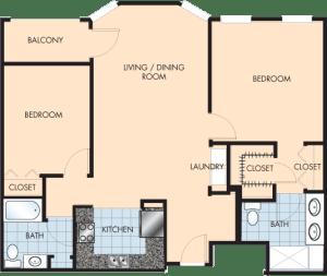 2 Bed / 2 Bath / 1,262 sq ft / Rent: $1,690