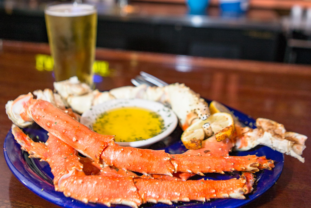 Enjoy fantastic seafood dishes, like impressive king crab legs, at The Pointe at Lake Gaston