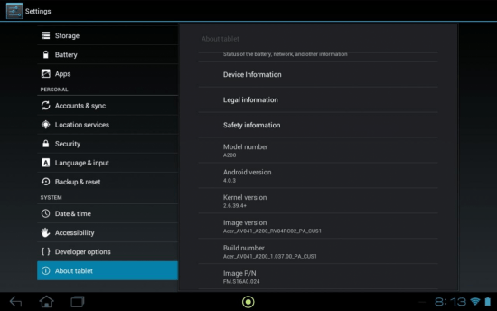 a200 ics Ice Cream Sandwich arrive sur la tablette Acer Iconia A200 via OTA