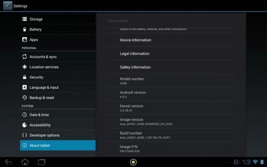 a200 ics Ice Cream Sandwich arrive sur la tablette Acer Iconia A200 via OTA