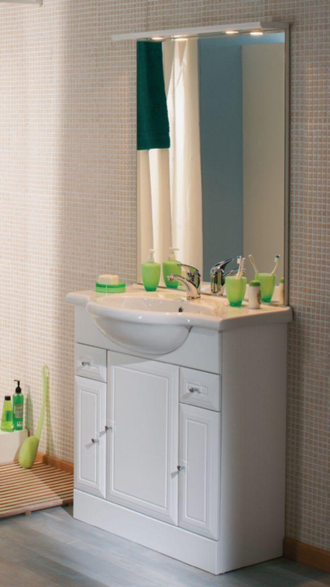 Alterna Meuble Sous Vasque Tolede 2 Blanc 80 Cm 3 Portes 2 Tiroirs Pour Plan Ceramique Point P