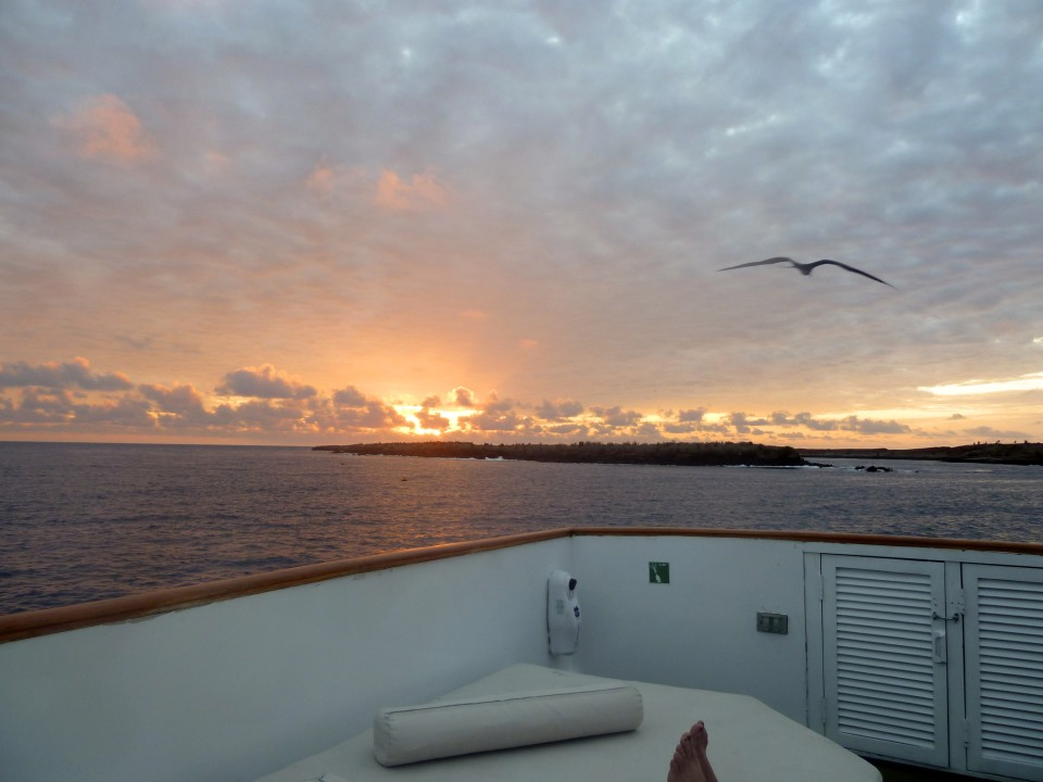 Sunset from the Ecoventura yacht