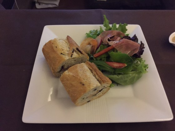 Salmon Sandwich and Salad with shrimp and crab