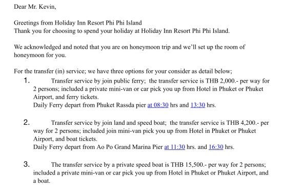 holiday inn transport koh phi phi islands