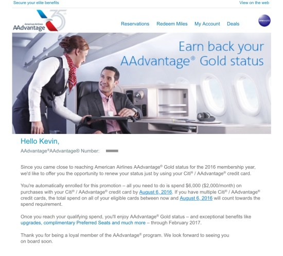 credit card spend for aa american airlines elite status