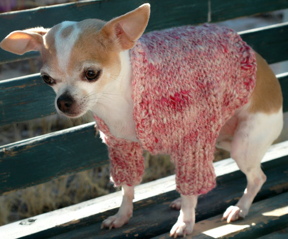Handknit dog shrug, dusty rose and white hand spun yarn of wool and silk