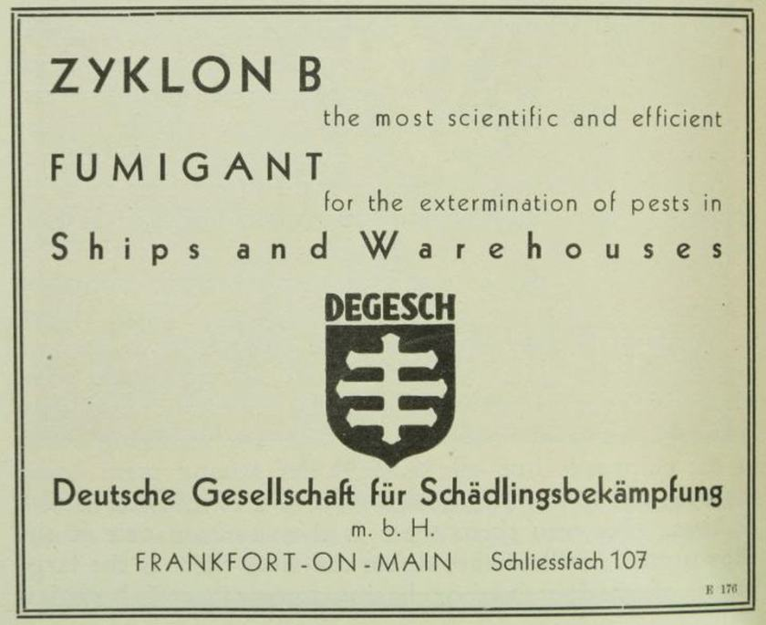 Degesch fumigant for pests 1929