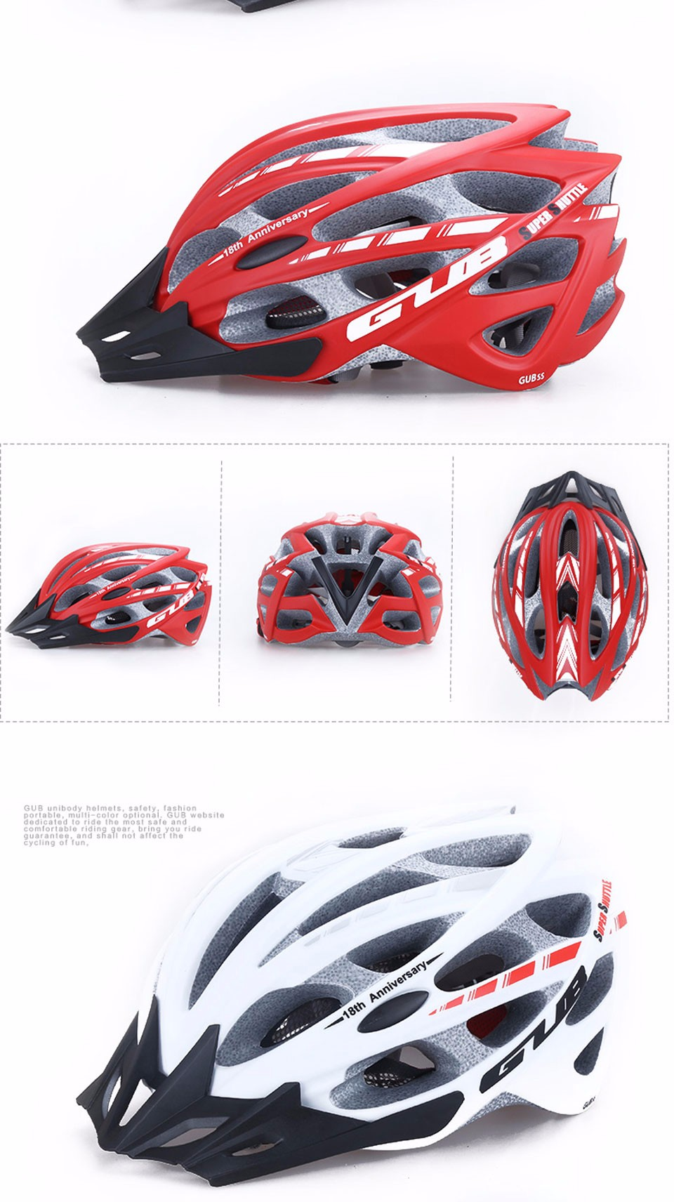 Фото GUB Cycling Helmet Professional Road Mountain DH MTB Bicycle Helmet Integrally In-mold Bike Helmet EPS+PC 57-61CM Casco Ciclismo