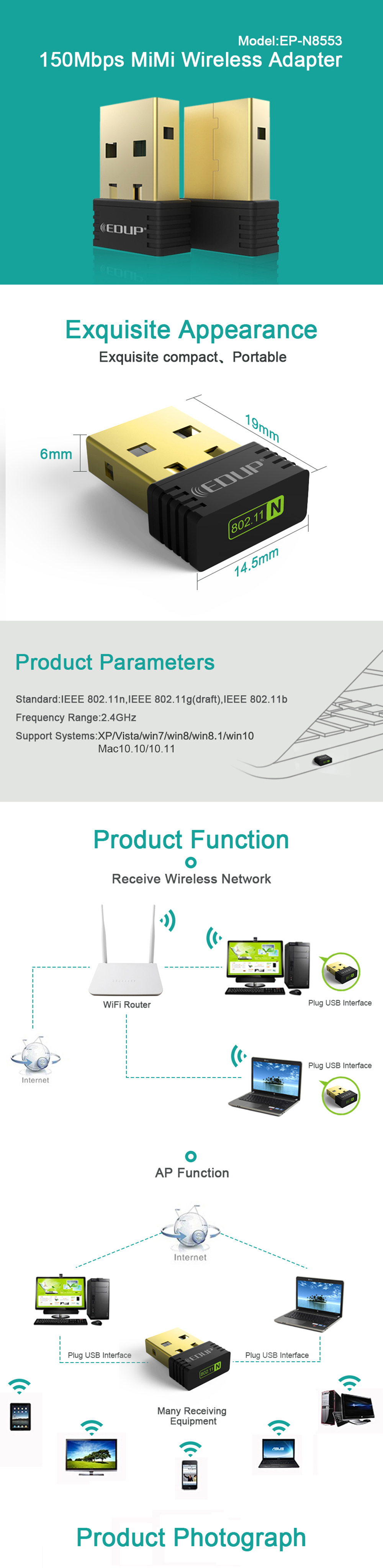 Фото EDUP mini usb wireless wifi adapter 150mbps wi-fi receiver 802.11n usb ethernet adapter network card Support Windows Mac for PC