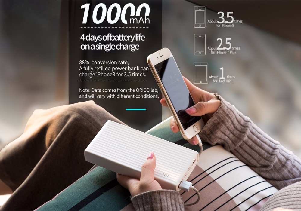 Фото Внешний аккумулятор ORICO 10000 mah Power Bank QC3.0 External Battery BC1.2 Three Output 18W Max For Moblie Phone
