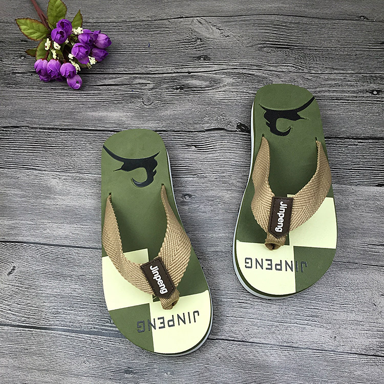 Фото COOLSA Summer Men Beach Sandals Printing Elk Soft Fabric Flip Flops Non-slip Home Slippers Boy Indoor Sandals Casual Zapatillas