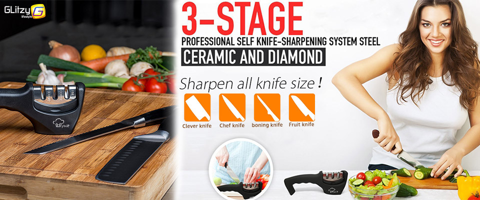 Фото Удобная и практичная точилка для кухонных ножей. Knife Sharpener Kitchen Whetstone Sharpening Stone Knives Grinder Tungsten Diamond Ceramic Three Stage Grindstone Household Tool