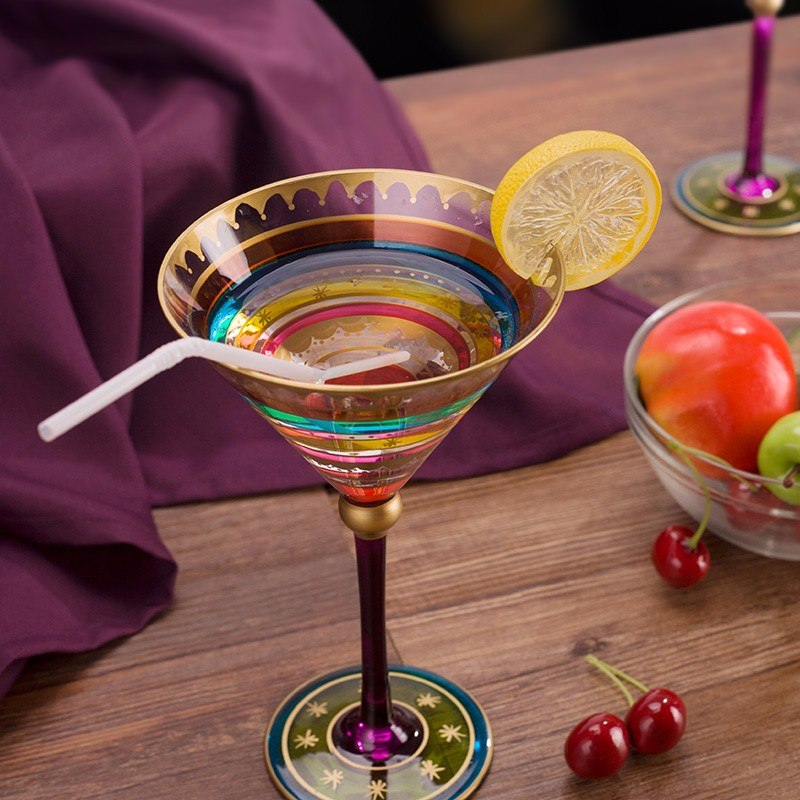 Фото Бокалы в марокканском стиле Big Crystal Colorful  Wine Glass Goblet Cocktail Glass Bar Whisky Champagne Transparent Glass Hign Grade Drinkware Bar Suppliers
