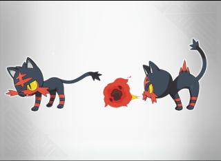 Flamiaou , le starter feu. Un Flamajou, mais en chat.